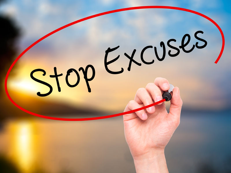 52872706 - man hand writing  stop excuses  with black marker on visual screen. isolated on background. business, technology, internet concept. stock photo